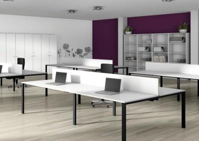 Bench o isla de trabajo en grupo con mesas Portico