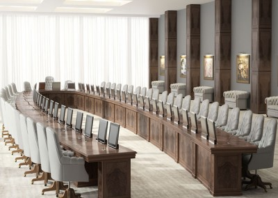 Sala de reuniones ejecutiva con mueble clásico